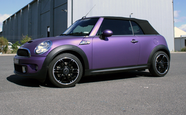 Mini wrapped in matte metallic purple vinyl