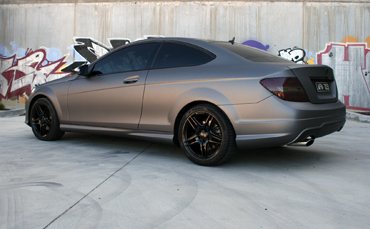 C250 wrapped in Avery matte metallic grey vinyl