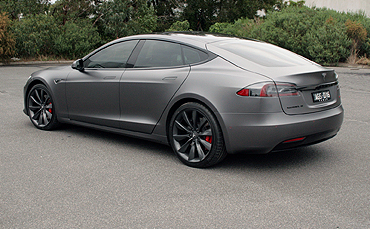 Tesla Model S wrapped in 3M satin dark grey