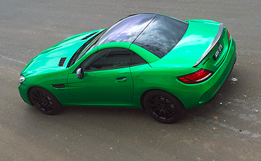 Mercedes Benz car wrapped in 3M Gloss Green Envy vinyl