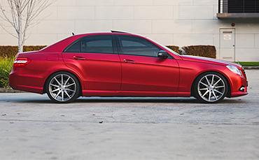 KPMF Matte Iced Red Titanium vinyl wrap on Mercedes Benz
