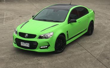 VF Holden Commodore Motorsport Edition wrapped in Hexis Matt Kiwi Green vinyl